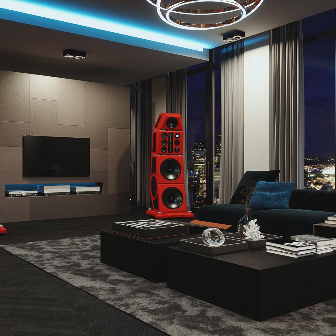Siltech Red Symphony Speaker in living room
